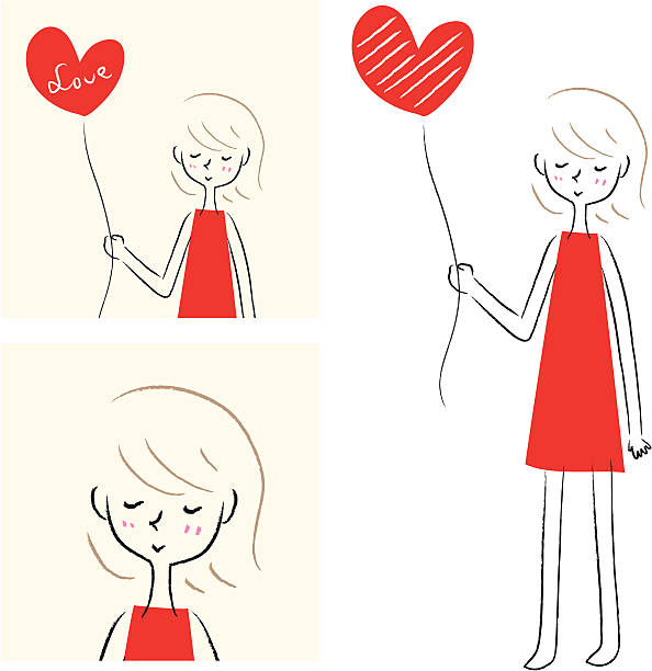Cut Girl holding heart-shaped balloon Vector illustration - a girl holding heart-shaped balloon .  cute teen couple stock illustrations
