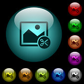 Cut image icons in color illuminated glass buttons
