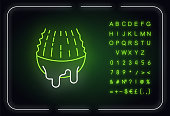 Cut leaf neon light icon. Aloe vera juice. Succulent thorn with liquid. Sliced cactus. Outer glowing effect. Sign with alphabet, numbers and symbols. Vector isolated RGB color illustration