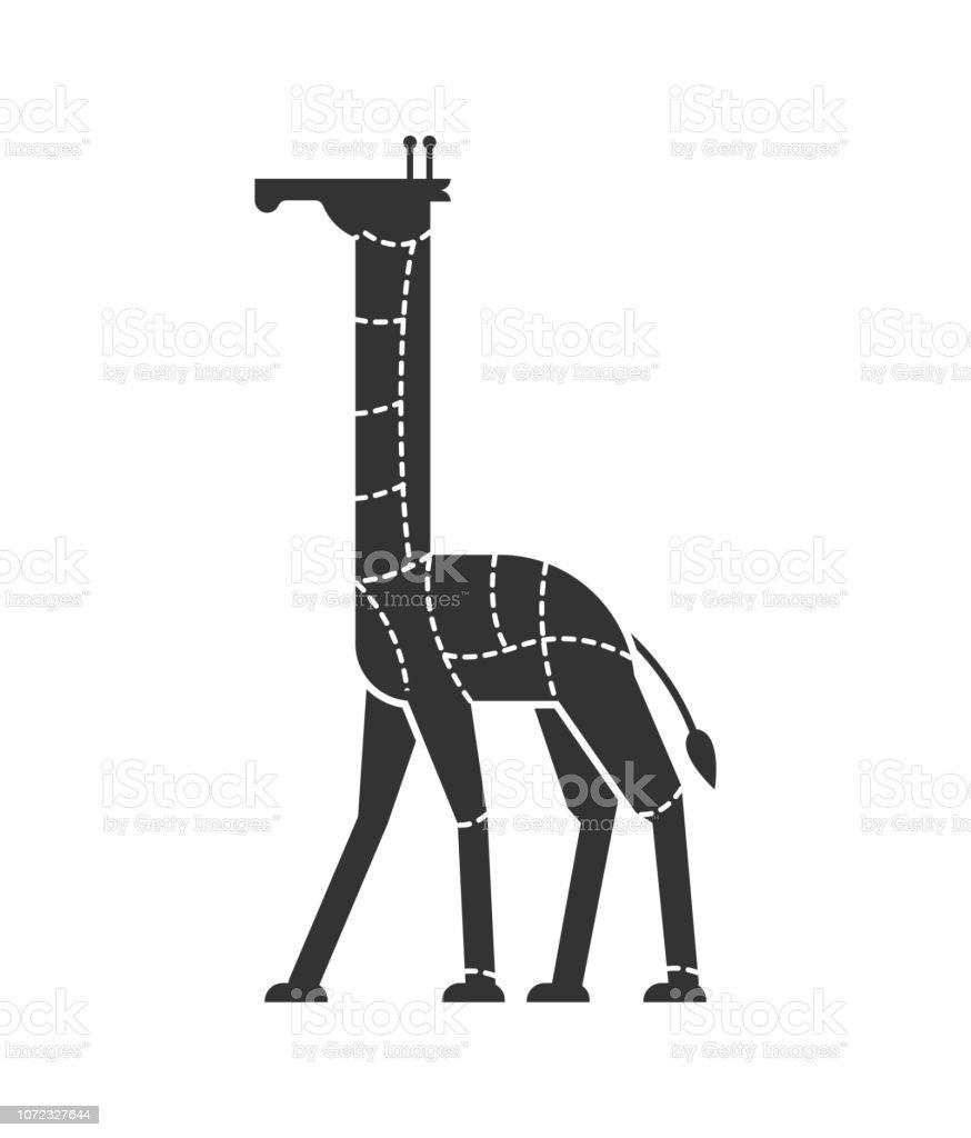 Coupe De Viande Girafe Camelopard Silhouette Schéma Des Lignes De Différentes Pièces De Viande Comment Faire Pour Couper La Bête Sauvage De Chair