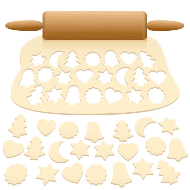 weihnachtsplätzchen aus rohen teig - isolierte vektor-illustration auf weißem hintergrund ausschneiden. - gluten stock-grafiken, -clipart, -cartoons und -symbole