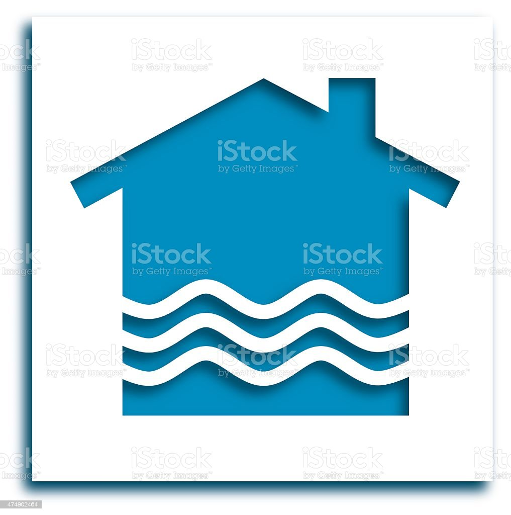 Cut Out Flooding House Icon vector art illustration