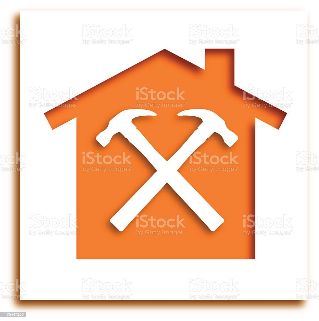 Cut Out Hammer House Icon vector art illustration