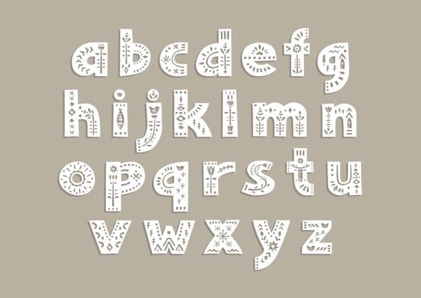 ilustrações de stock, clip art, desenhos animados e ícones de cut out letters with scandinavian patterns for a laser cutting template of paper and vinyl. - hygge