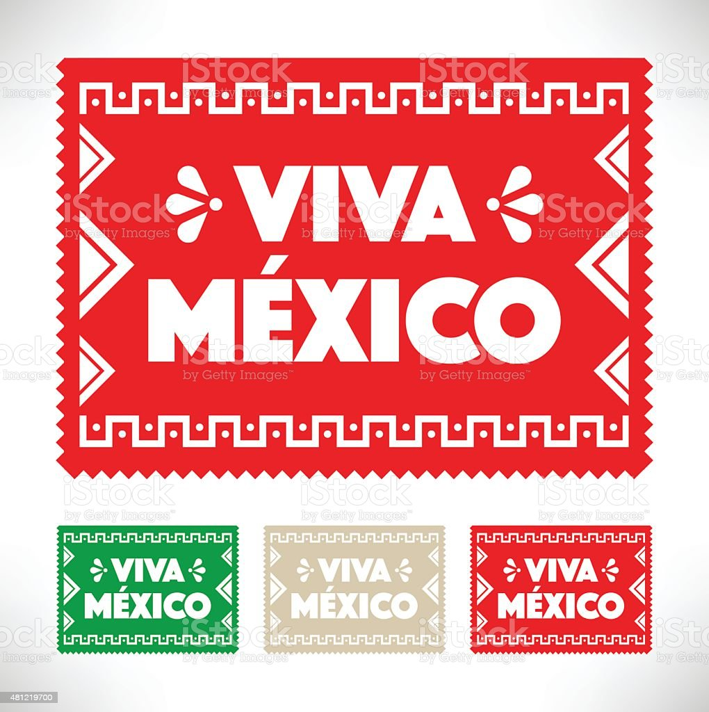 Cut Out Paper - Viva Mexico vector art illustration