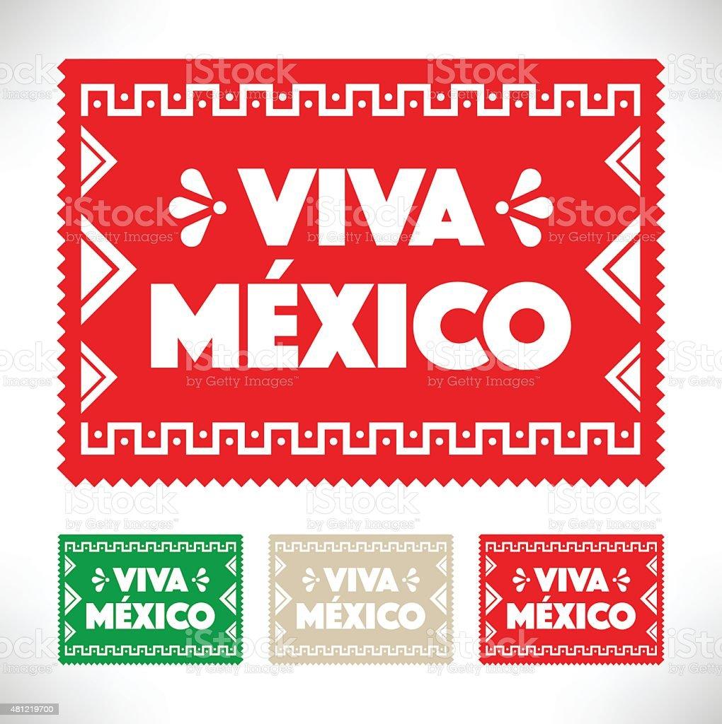 Cortar papel-Viva Mexico - ilustração de arte em vetor