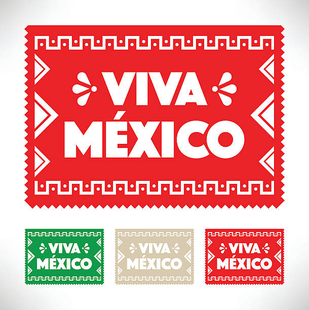 stockillustraties, clipart, cartoons en iconen met cut out paper - viva mexico - historisch document