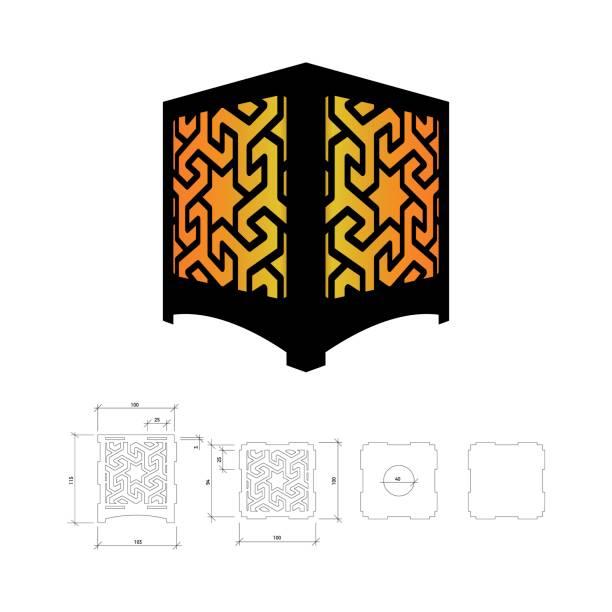 schneiden sie die vorlage für lampe - laservorlagen stock-grafiken, -clipart, -cartoons und -symbole