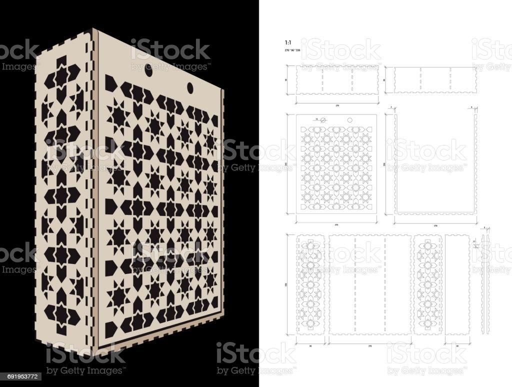 Schneiden Sie Die Vorlage Für Weinbox Vektor Illustration 691953772 ...