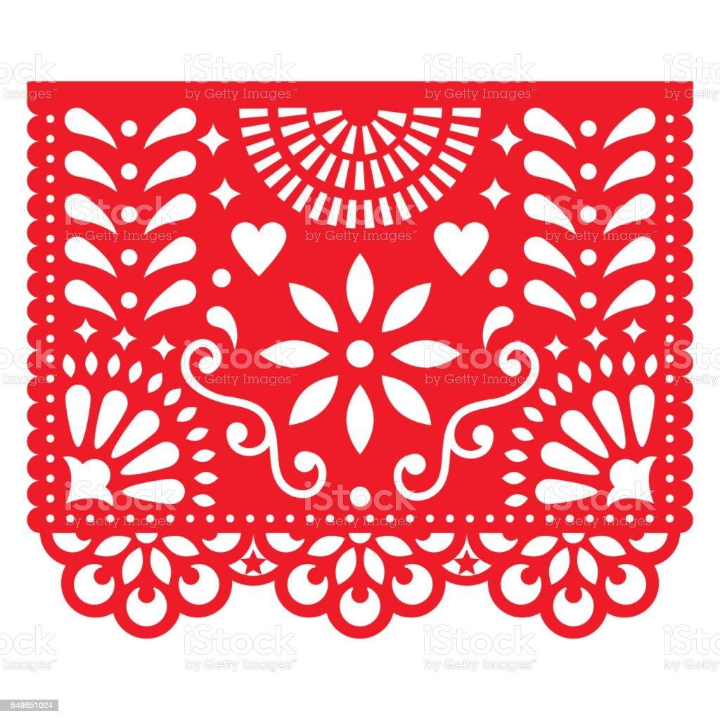 Cortar o modelo com flores e folhas, festiva composição floral em vermelho isolado no branco - ilustração de arte em vetor