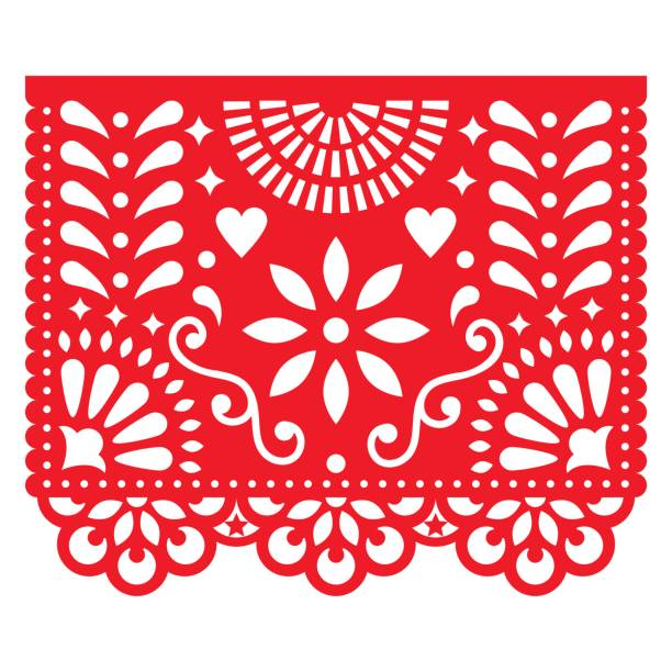 Cut out template with flowers and leaves, festive floral composition in red isolated on white vector art illustration
