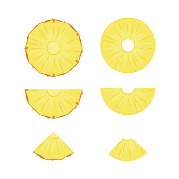 illustrazioni stock, clip art, cartoni animati e icone di tendenza di cut slices of ripe yellow pineapple on a white background. - ananas