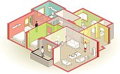 cutaway apartment - isometric