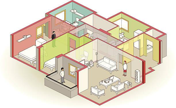 cutaway-apartment - hausprojekte stock-grafiken, -clipart, -cartoons und -symbole
