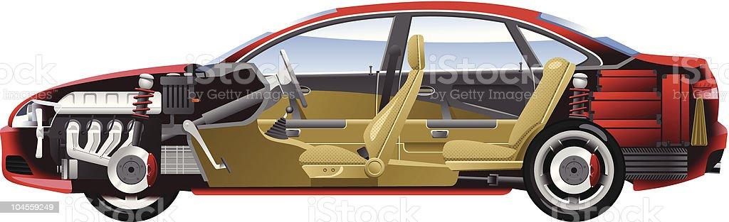 Cutaway-Auto. – Vektorgrafik