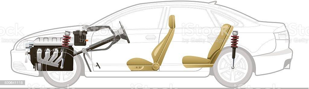 Cutaway-Auto – Vektorgrafik