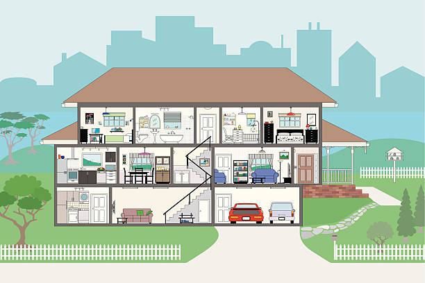Cutaway House with Highly Detailed Rooms EPS8 Cutaway of residential house - rooms very detailed include wallpaper and furnishings - grouped and layered EPS8 dollhouse stock illustrations