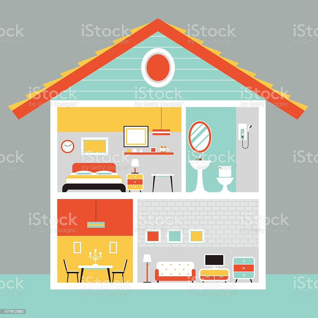Cutaway House with Room and Furniture Flat Design vector art illustration