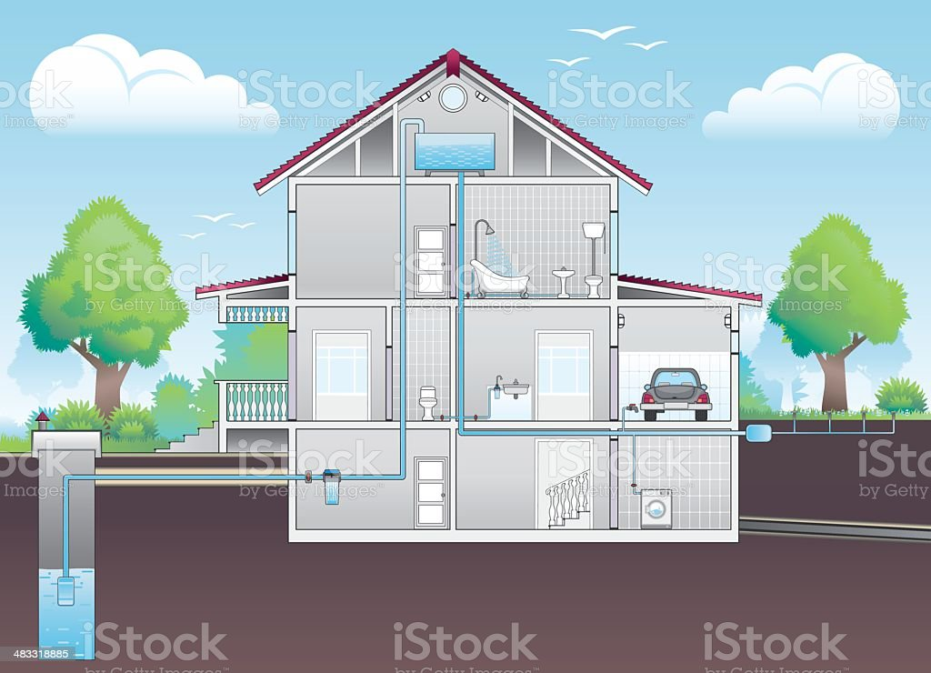 Cutaway illustration of house with plumbing plan vector art illustration