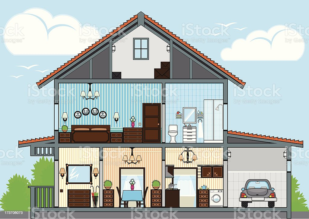 Cutaway of house vector art illustration