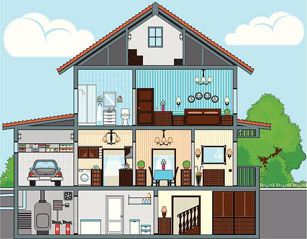 cutaway-of-house - halbwände stock-grafiken, -clipart, -cartoons und -symbole
