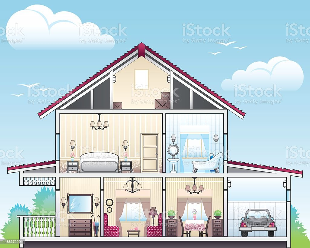 Cutaway of house royalty-free cutaway of house stock vector art & more images of architecture