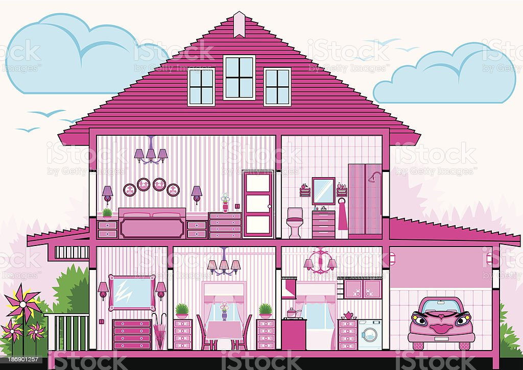 Cutaway of pink house with furniture royalty-free cutaway of pink house with furniture stock vector art & more images of architecture