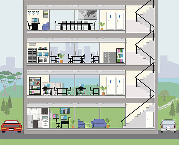 cutaway bürogebäude mit stadt-hintergrund - halbwände stock-grafiken, -clipart, -cartoons und -symbole