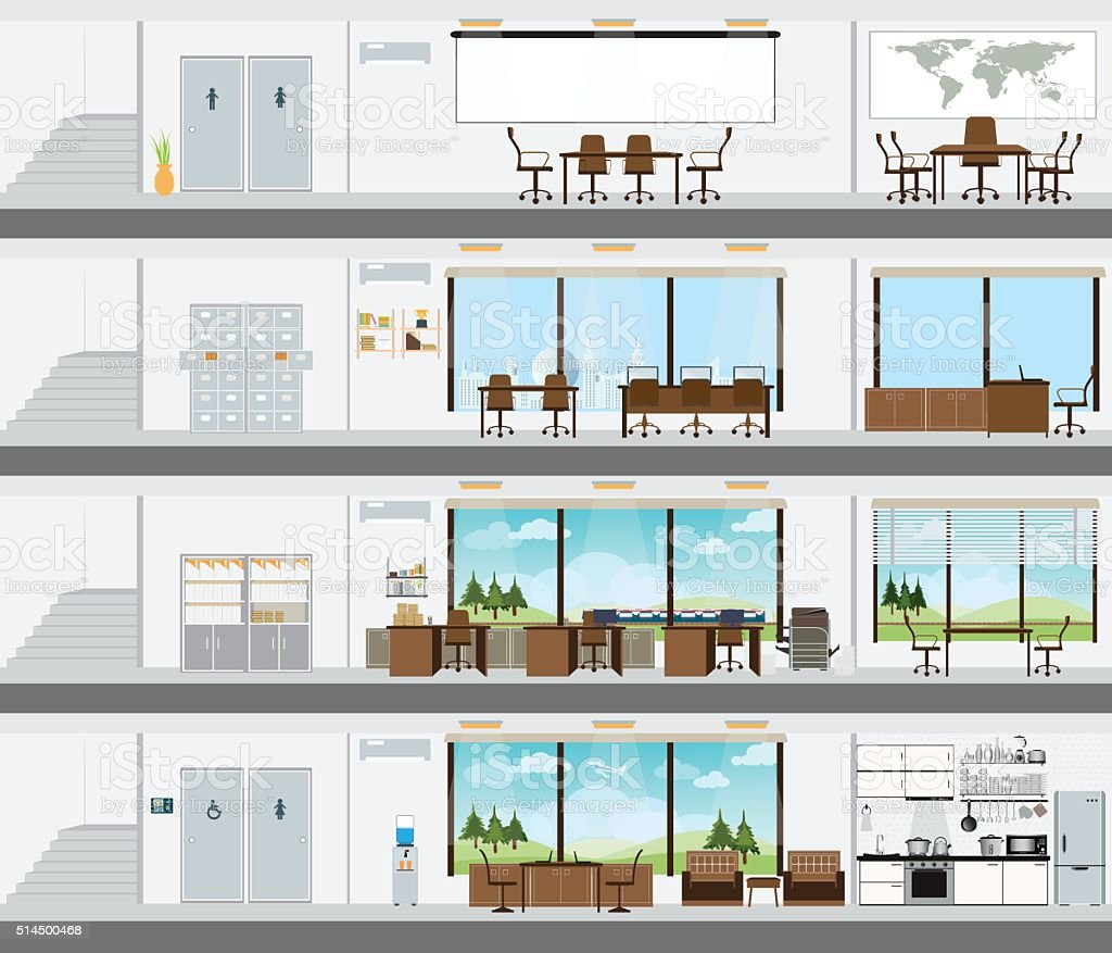 Cutaway office building with interior design plan stock for Office building bathroom design