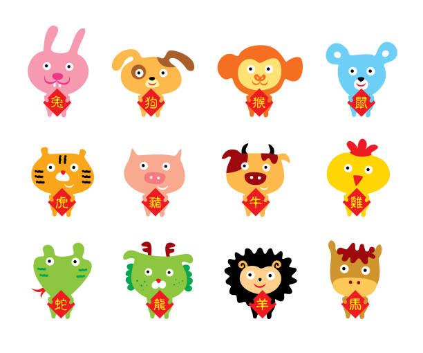 niedliche 12 Tiere chinesische Horoskop Zeichen Vektor – Vektorgrafik