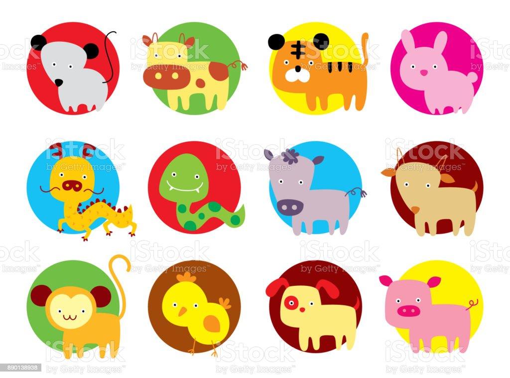cute 12 chinese horoscope animals vector vector art illustration