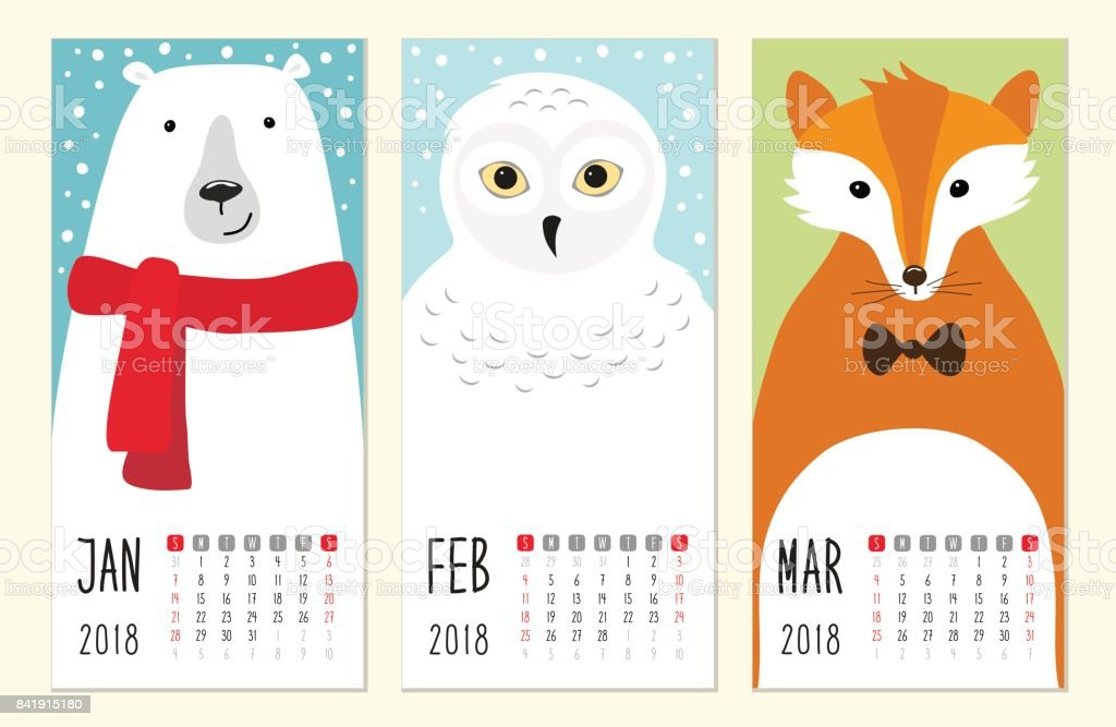 Cute 2018 calendar pages with funny cartoon animals characters vector art illustration