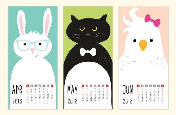 cute 2018 calendar pages with funny cartoon animals characters - birds calendar stock illustrations, clip art, cartoons, & icons