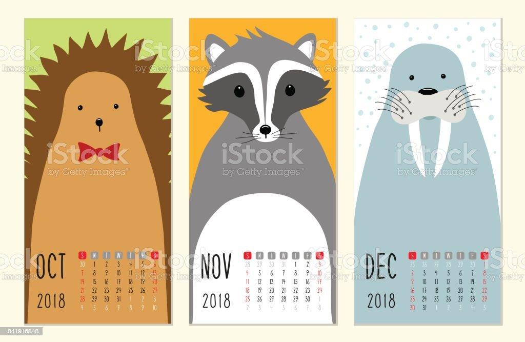 pages de calendrier 2018 mignon avec des personnages animaux dr le de bande dessin e cliparts. Black Bedroom Furniture Sets. Home Design Ideas