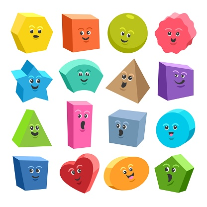 Cute 3d geometric shape characters