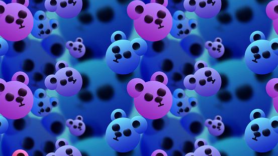 Cute 3D seamless illustration - Funny teddy animal faces.