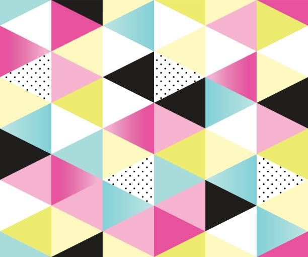 cute 80's style seamless geometric pattern with triangles - 1990s style stock illustrations