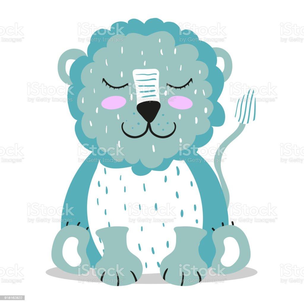 Mignon Un Lion Style Scandinave Brillant Des Enfants