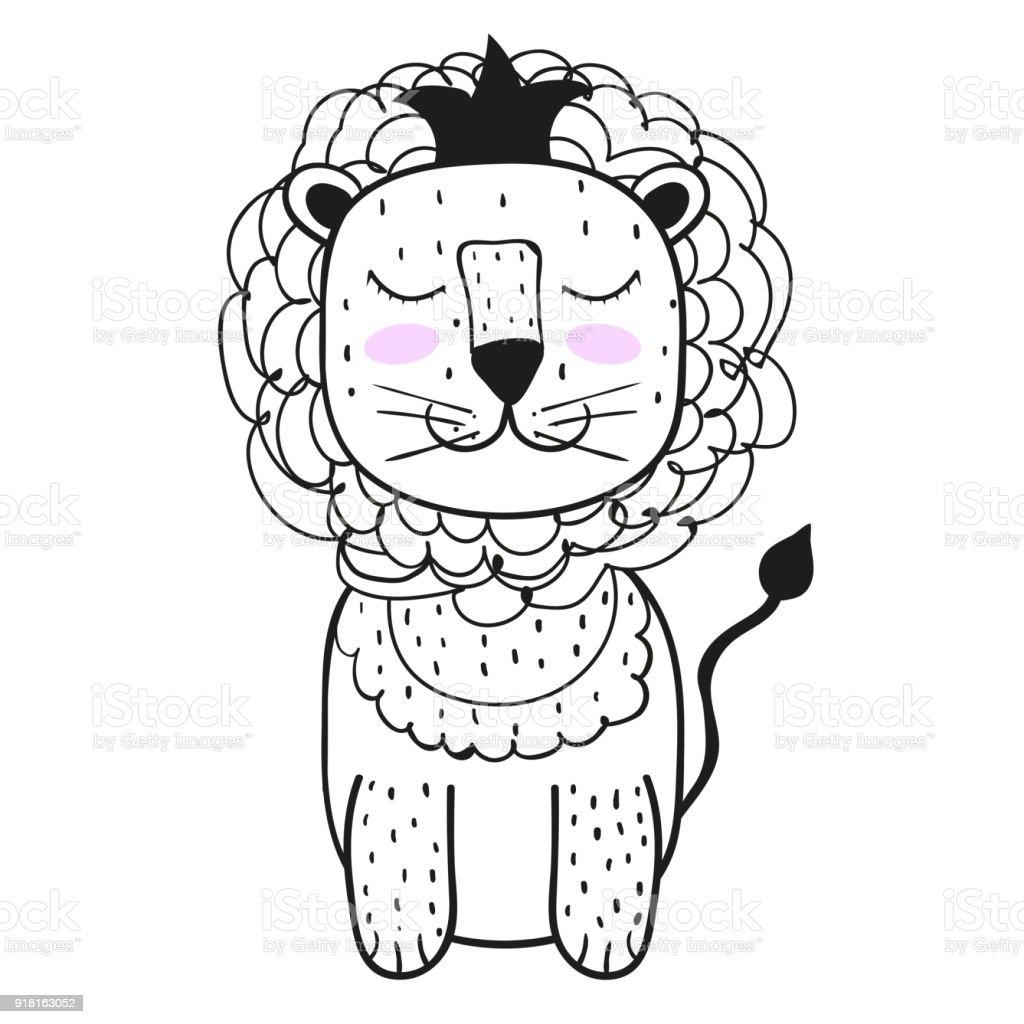 Mignon Un Lion Style Scandinave Brillant Des Enfants Imprimer Pour Le Garcon Et La Fille Pour Les Vetements Cartes Postales Pour Votre Conception Vecteurs Libres De Droits Et Plus D Images Vectorielles De