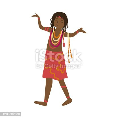 istock Cute aboriginal women in colorful red dress and african jewelry 1209832850