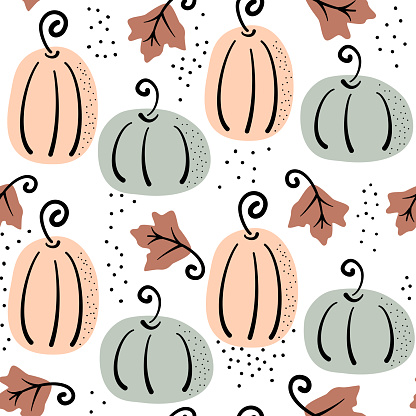 cute abstract colorful fall seamless vector pattern illustration with pumpkins and autumn leaves on purple background