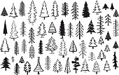 cute abstract conifer pine fir christmas needle trees collection