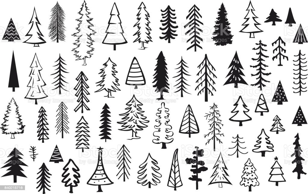 cute abstract conifer pine fir christmas needle trees collection vector art illustration