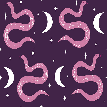 cute abstract seamless vector pattern background illustration with snakes, moon and stars