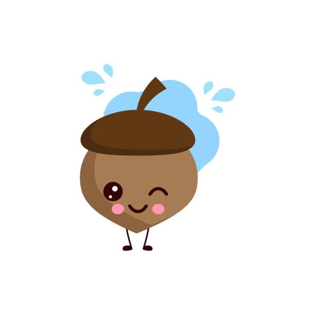 ilustrações de stock, clip art, desenhos animados e ícones de cute acorn blink of an eye.vector - tape face