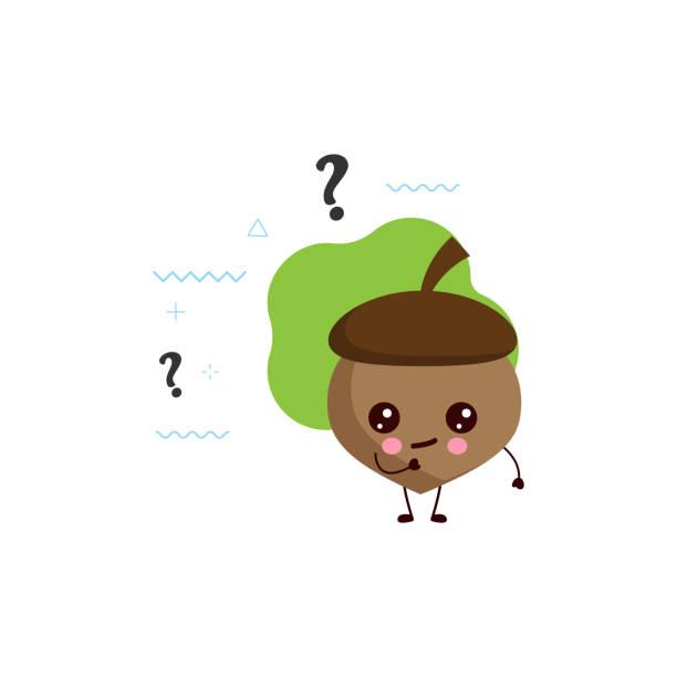ilustrações de stock, clip art, desenhos animados e ícones de cute acorn with the question mark.vector - tape face