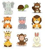 cute adorable animal icon set vector illustration graphic design