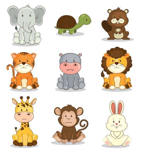 cute adorable tier icon-set - elefantenkunst stock-grafiken, -clipart, -cartoons und -symbole