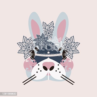 istock Cute adorable bunny face. Perfect print for fabric, t-shirt, poster, greeting cards, invitations, children room decoration, etc. 1281589632