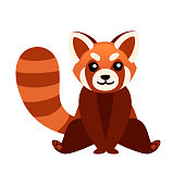 Cute adorable red panda sit on floor cartoon design animal character flat vector style illustration on white background.